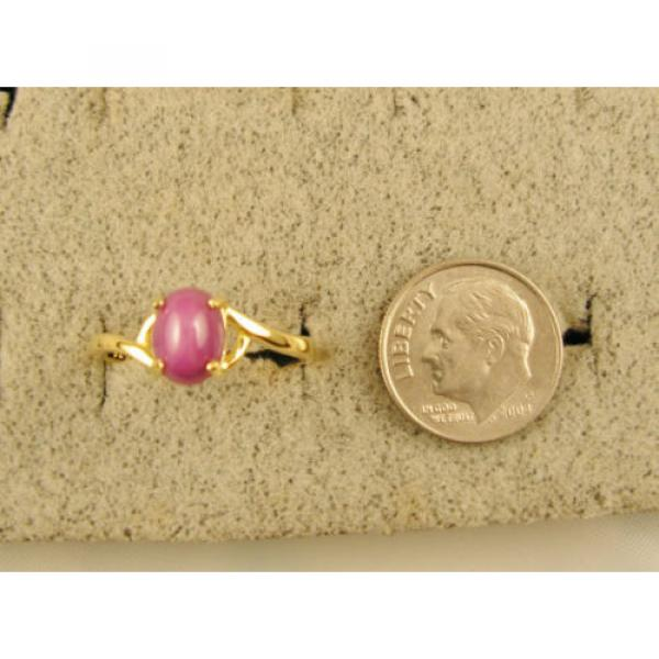 VINTAGE LINDE LINDY PINK STAR RUBY CREATED SAPPHIRE RING SOLID 14K YELLOW GOLD #3 image
