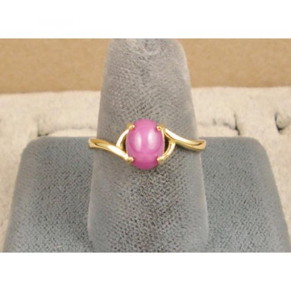 VINTAGE LINDE LINDY PINK STAR RUBY CREATED SAPPHIRE RING SOLID 14K YELLOW GOLD #4 image