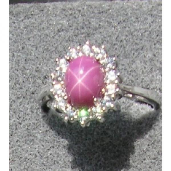VINTAGE SIGNED LINDE LINDY PINK STAR RUBY CREATED SAPPHIRE HALO RING RD PL .925 #1 image