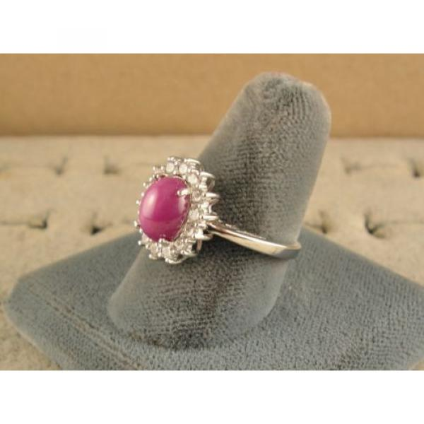 VINTAGE UNSIGN LINDE LINDY PINK STAR RUBY CREATED SAPPHIRE HALO RING RD PL .925 #2 image