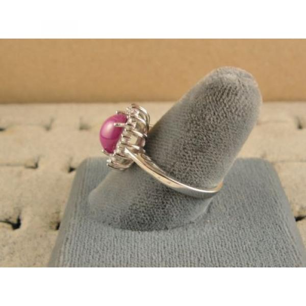 VINTAGE SIGNED LINDE LINDY PINK STAR RUBY CREATED SAPPHIRE HALO RING RD PL .925 #5 image