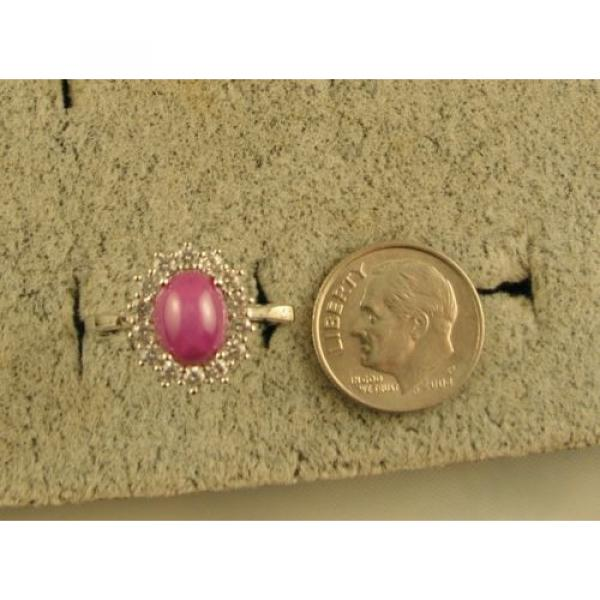 VINTAGE SIGNED LINDE LINDY PINK STAR RUBY CREATED SAPPHIRE HALO RING RD PL .925 #6 image