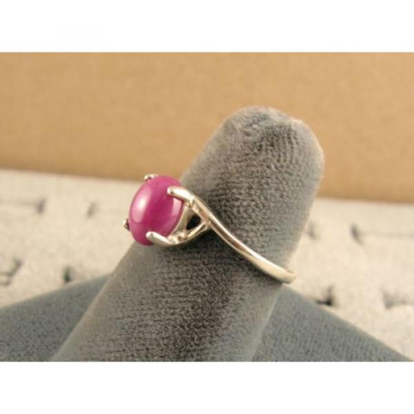 8X6mm 1.5+ CT LINDE LINDY PINK STAR SAPPHIRE CREATED RUBY SECOND RING .925 SS #3 image