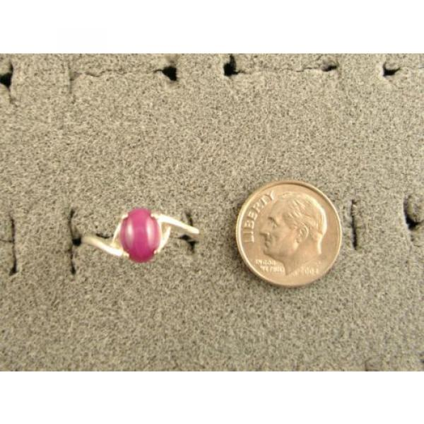 8X6mm 1.5+ CT LINDE LINDY PINK STAR SAPPHIRE CREATED RUBY SECOND RING .925 SS #4 image
