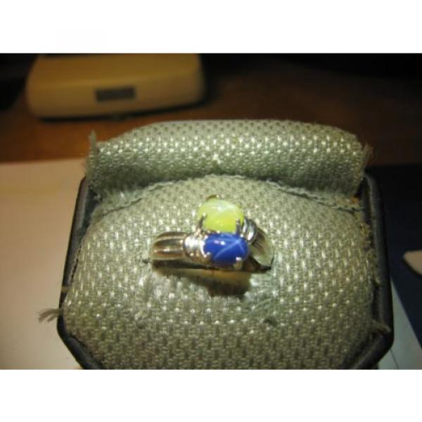 GEMINI 2 STONE BLUE/YELLOW LINDE STAR RING.925 STERLING SILVER SIZE 8  & more #1 image