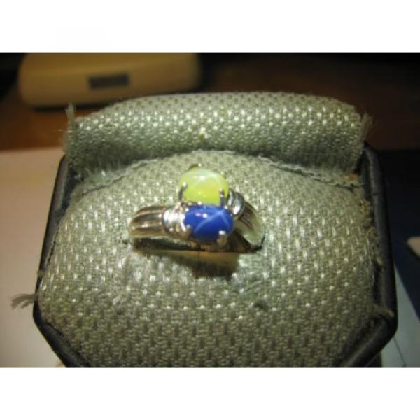 GEMINI 2 STONE BLUE/YELLOW LINDE STAR RING.925 STERLING SILVER SIZE 8  & more #2 image