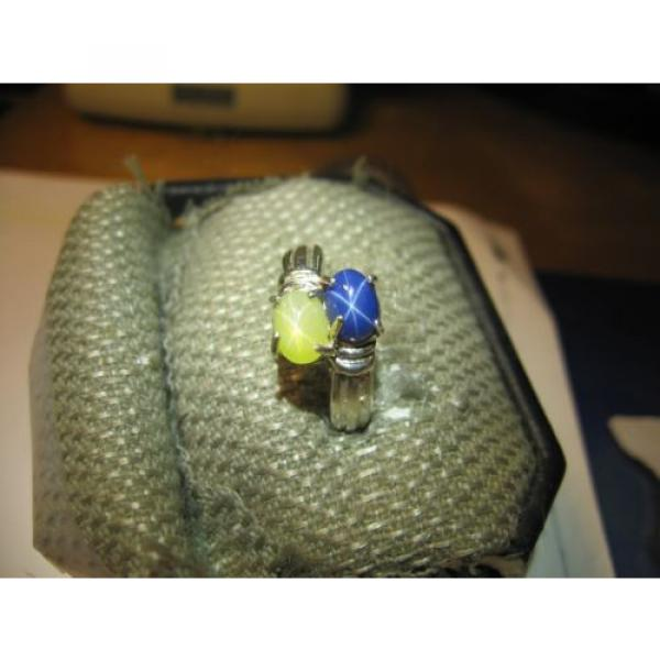 GEMINI 2 STONE BLUE/YELLOW LINDE STAR RING.925 STERLING SILVER SIZE 8  & more #3 image