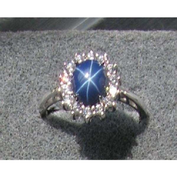 VINTAGE UNSIGN LINDE LINDY CF BLUE STAR SAPPHIRE CREATED HALO RING RD PL .925 SS #1 image