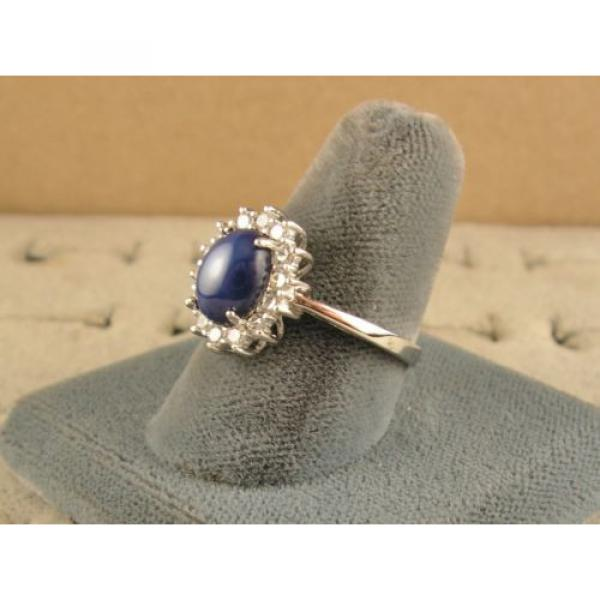 VINTAGE UNSIGN LINDE LINDY CF BLUE STAR SAPPHIRE CREATED HALO RING RD PL .925 SS #2 image