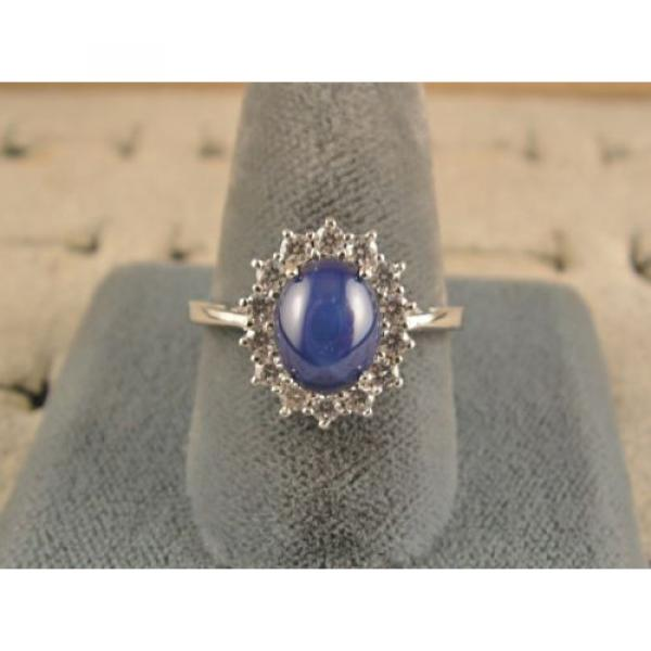VINTAGE UNSIGN LINDE LINDY CF BLUE STAR SAPPHIRE CREATED HALO RING RD PL .925 SS #3 image