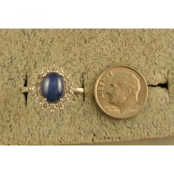 VINTAGE UNSIGN LINDE LINDY CF BLUE STAR SAPPHIRE CREATED HALO RING RD PL .925 SS #4 image