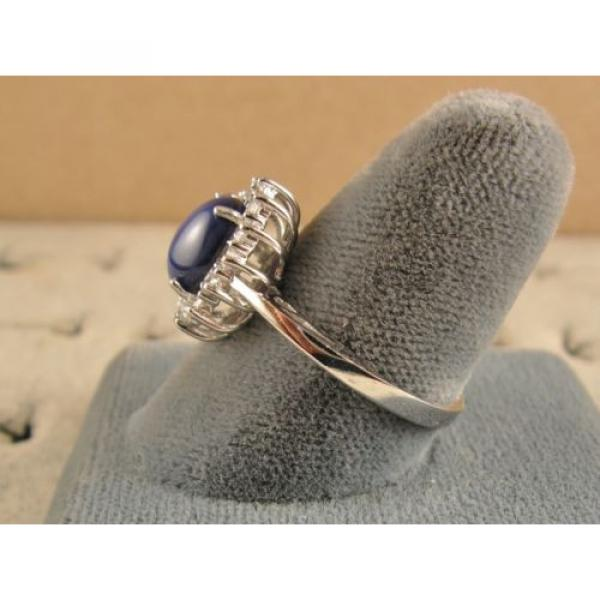 VINTAGE UNSIGN LINDE LINDY CF BLUE STAR SAPPHIRE CREATED HALO RING RD PL .925 SS #5 image