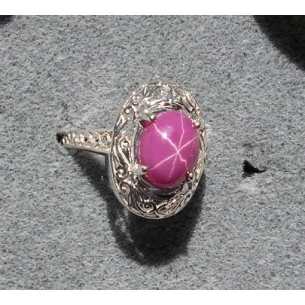 10x8mm 3+ CT LINDE LINDY PINK STAR SAPPHIRE CREATED RUBY SECOND RING .925 SS #1 image