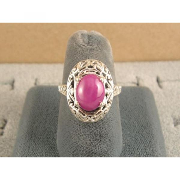 10x8mm 3+ CT LINDE LINDY PINK STAR SAPPHIRE CREATED RUBY SECOND RING .925 SS #2 image