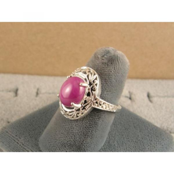 10x8mm 3+ CT LINDE LINDY PINK STAR SAPPHIRE CREATED RUBY SECOND RING .925 SS #3 image