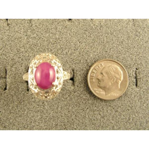 10x8mm 3+ CT LINDE LINDY PINK STAR SAPPHIRE CREATED RUBY SECOND RING .925 SS #4 image
