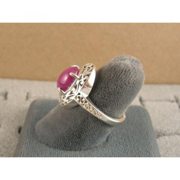 10x8mm 3+ CT LINDE LINDY PINK STAR SAPPHIRE CREATED RUBY SECOND RING .925 SS #5 image