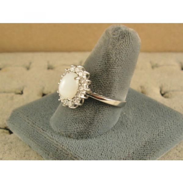 VINTAGE SIGNED LINDE LINDY SHELL WHITE STAR SAPPHIRE CREATED HALO RING RD PL SS #2 image