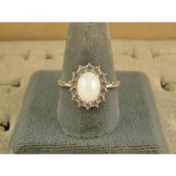 VINTAGE SIGNED LINDE LINDY SHELL WHITE STAR SAPPHIRE CREATED HALO RING RD PL SS #4 image