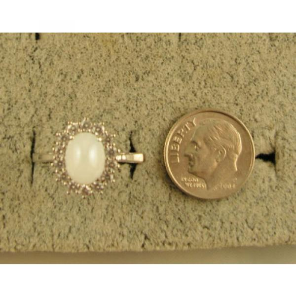 VINTAGE SIGNED LINDE LINDY SHELL WHITE STAR SAPPHIRE CREATED HALO RING RD PL SS #5 image