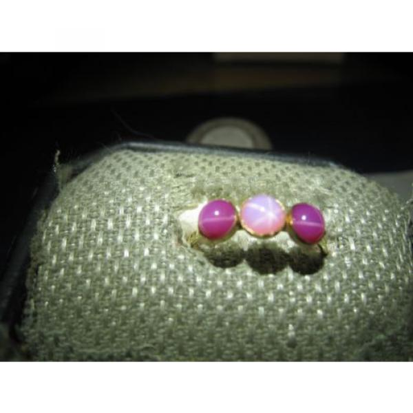 3 STONE GOLD FILLED LINDE STAR SAPPHIRE RING SIZE 7.75 #1 image