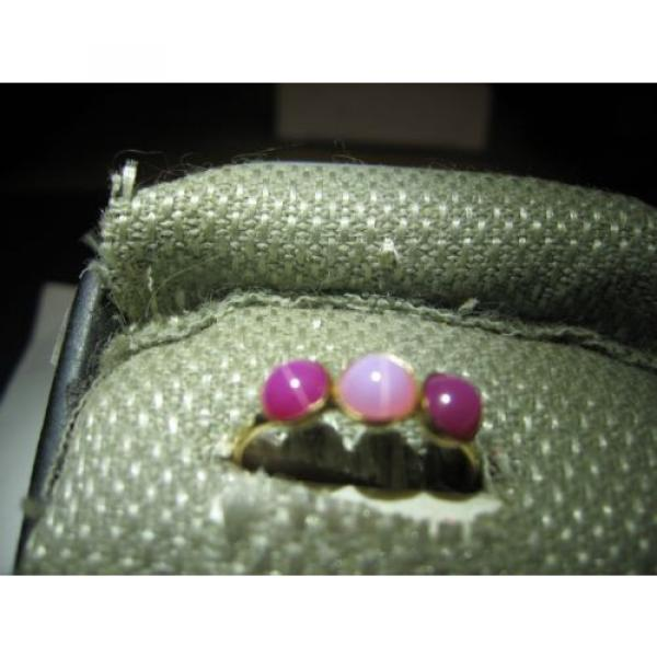 3 STONE GOLD FILLED LINDE STAR SAPPHIRE RING SIZE 7.75 #3 image