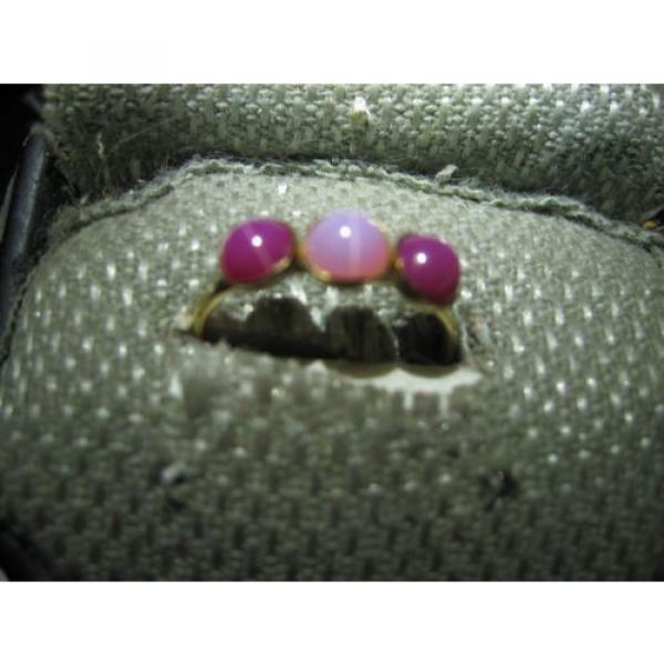 3 STONE GOLD FILLED LINDE STAR SAPPHIRE RING SIZE 7.75 #4 image