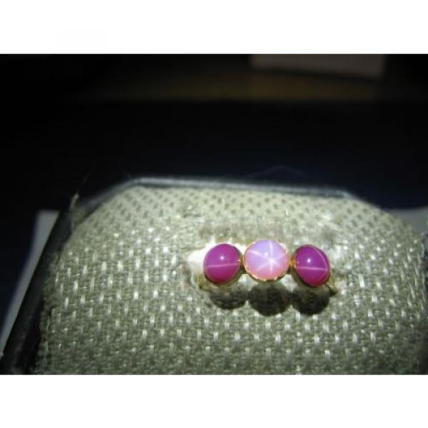 3 STONE GOLD FILLED LINDE STAR SAPPHIRE RING SIZE 7.75 #5 image