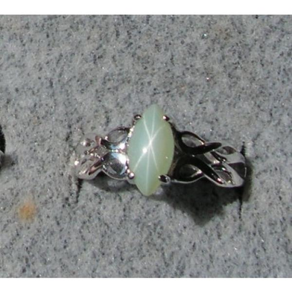 VINTAGE LINDE LINDY MINT GREEN STAR SAPPHIRE CREATED RING RD PLATE .925 S/S #1 image