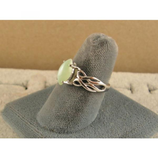 VINTAGE LINDE LINDY MINT GREEN STAR SAPPHIRE CREATED RING RD PLATE .925 S/S #2 image