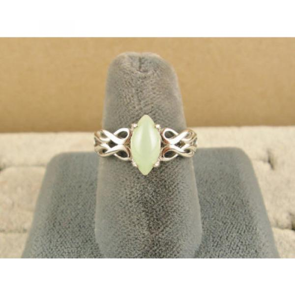 VINTAGE LINDE LINDY MINT GREEN STAR SAPPHIRE CREATED RING RD PLATE .925 S/S #4 image