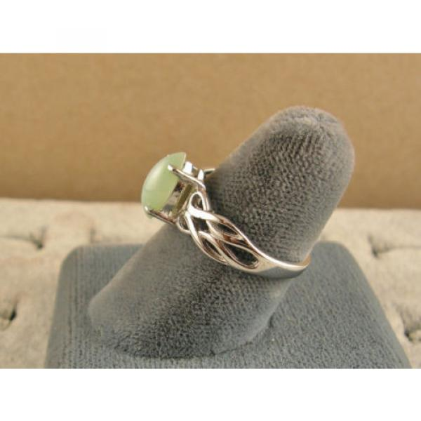 VINTAGE LINDE LINDY MINT GREEN STAR SAPPHIRE CREATED RING RD PLATE .925 S/S #5 image