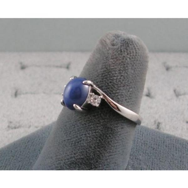 VINTAGE LINDE LINDY CORNFLOWER BLUE STAR SAPPHIRE CREATED RING RD PLATE .925 S/S #3 image