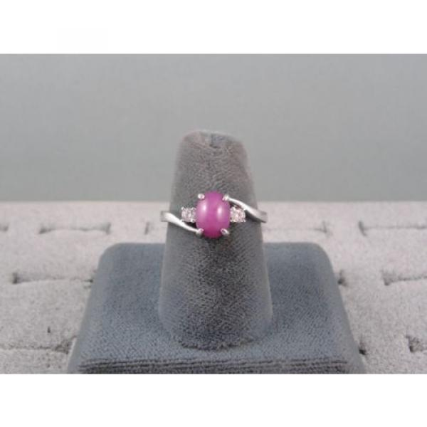 VINTAGE SIGNED LINDE LINDY PINK STAR RUBY CREATED SAPPHIRE RING RHD PLT .925 S/S #3 image
