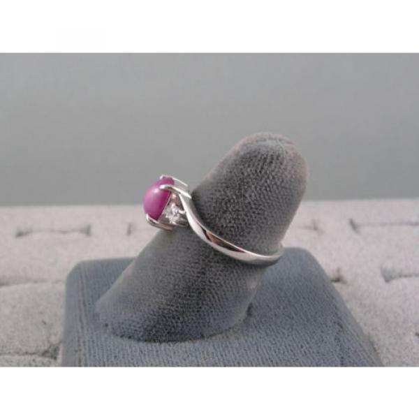 VINTAGE SIGNED LINDE LINDY PINK STAR RUBY CREATED SAPPHIRE RING RHD PLT .925 S/S #5 image