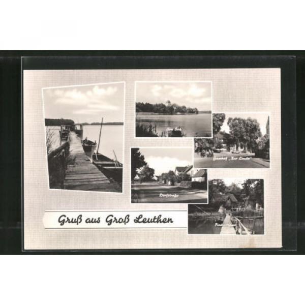 alte AK Groß Leuthen, Dorfstrasse, Gasthof Zur Linde, Fischerhaus 1965 #1 image
