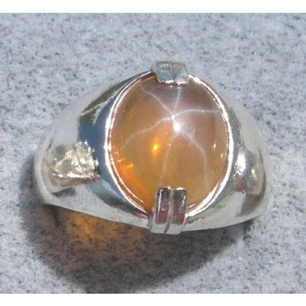 MEN'S 10x8mm 3+ CT TRANS YELLOW LINDE LINDY STAR SAPPHIRE CREATED SECOND RING SS #1 image