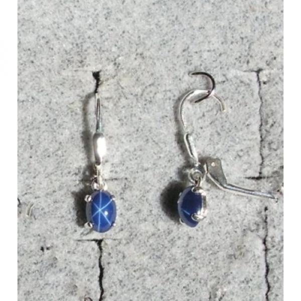 VINTAGE LINDE LINDY CRNFL BLUE STAR SAPPHIRE CREATED LEVER BACK EARRINGS .925 SS #1 image