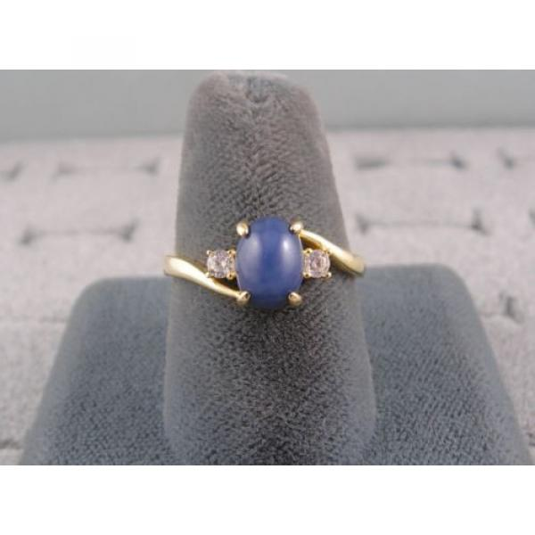 VINTAGE LINDE LINDY CORNFLOWER BLUE STAR SAPPHIRE CREATED RING  YG PLATE .925 SS #2 image