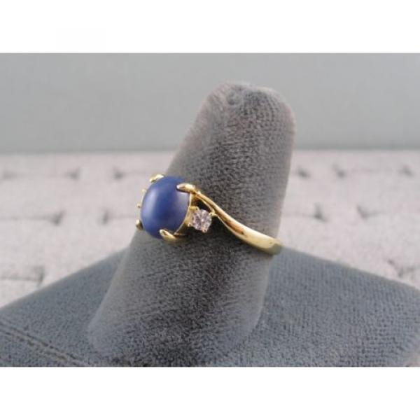VINTAGE LINDE LINDY CORNFLOWER BLUE STAR SAPPHIRE CREATED RING  YG PLATE .925 SS #3 image
