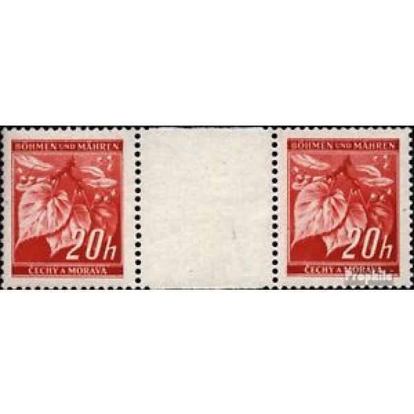 Bohemia et Moravia 22 paire avec interpanneau oblitéré 1939 linde branche #1 image