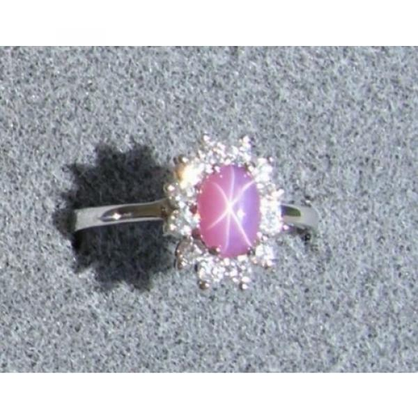 VINTAGE LINDE LINDY DUSKY ROSE STAR SAPPHIRE CREATED HALO RING RD PLT .925 SS #1 image