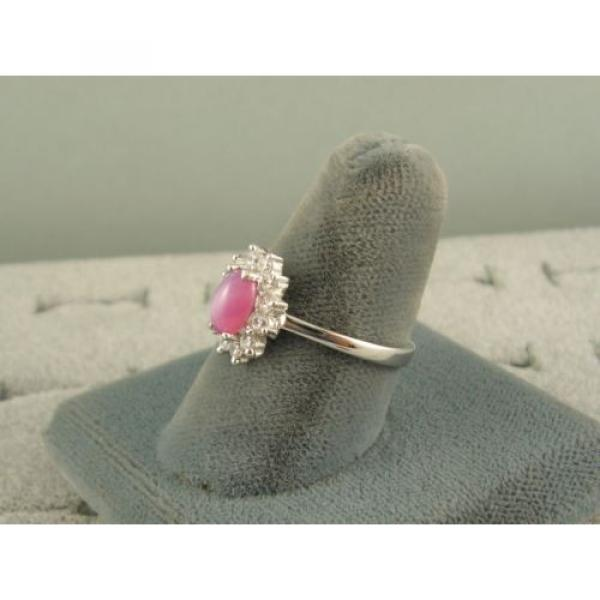 VINTAGE LINDE LINDY DUSKY ROSE STAR SAPPHIRE CREATED HALO RING RD PLT .925 SS #2 image