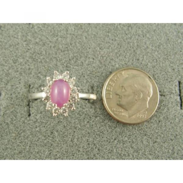 VINTAGE LINDE LINDY DUSKY ROSE STAR SAPPHIRE CREATED HALO RING RD PLT .925 SS #3 image
