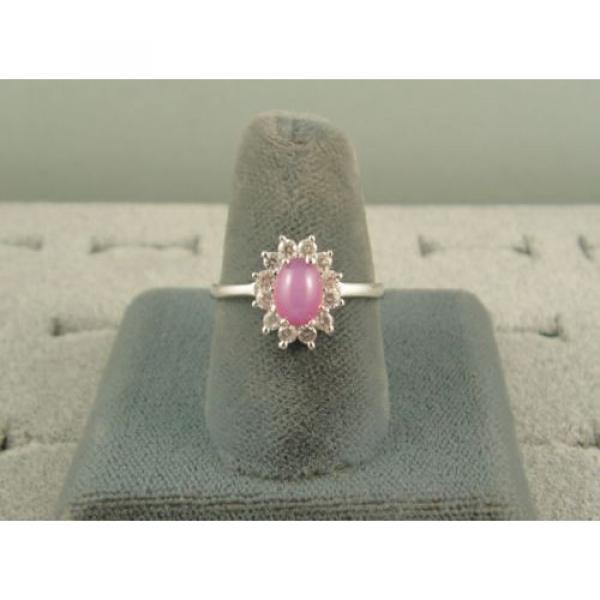 VINTAGE LINDE LINDY DUSKY ROSE STAR SAPPHIRE CREATED HALO RING RD PLT .925 SS #4 image