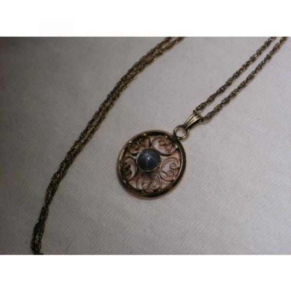 Vintage 12 Gold Filled Filigree,Linde/Lindy Blue Star Sapphire Pendant Necklace #6 image