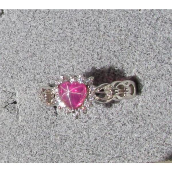 6MM HEART LINDE LINDY RED STAR RUBY CREATED SAPPHIRE 2ND RD PL HALO .925 SS RING #3 image