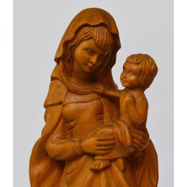 Skulptur Holz Linde handgeschnitzt Maria Muttergottes Madonna mit Kind H. 37 cm #2 image