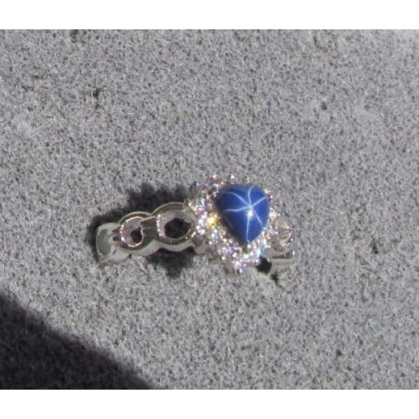 6MM HEART LINDE LINDY CF BLUE STAR SAPPHIRE CREATED 2ND RD PLT HALO .925 SS RING #1 image