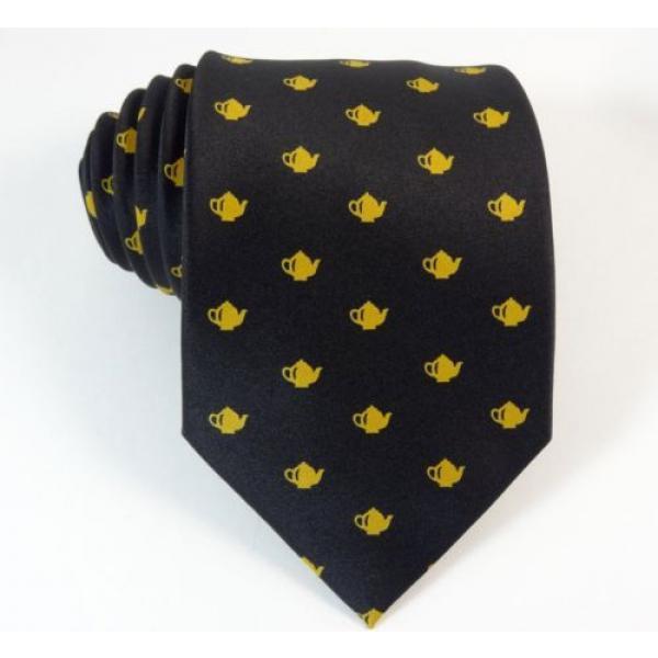 Teapot Tie Linde Lane Black Gold Coffee Shop Waiter Necktie #1 image